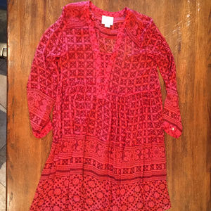 Anthro loose L/S red dress w/liner